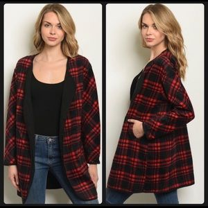 Black and red plaid cardigan with black lining S